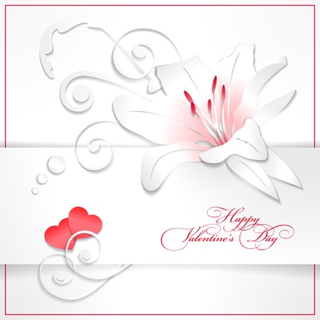 Floral Valentine's day vector background with red hearts, white paper lily, text, decorations, banner and drop shadows. Vector