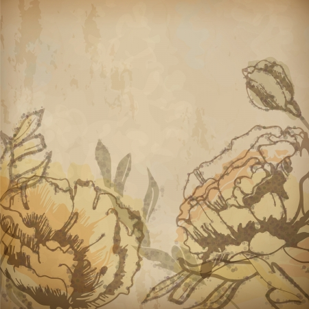 Vintage floral background with artistic flowers drawing on old textured paper. Vector