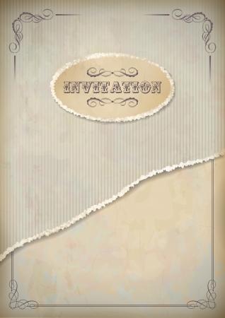 cartone strappato: Carta dell'invito del grunge vintage con foglio di cartone strappato, telaio classico e testo calligrafico nei toni del beige e del grigio