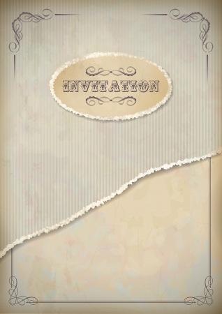 Vintage grunge invitation paper with torn cardboard sheet, classic frame and calligraphic text in shades of beige and gray
