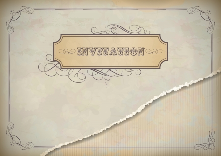 invited: Vintage grunge invitation design with torn old paper textured sheet, classic ornate frames and label, calligraphic text and page decoration in shades of beige and gray