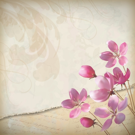 Realistic floral vector spring design with elegant pink blooming flowers, ragged edge of the stained old paper sheet with decorative elements and classic calligraphic text on vintage, grunge wallpaper background in retro style Çizim