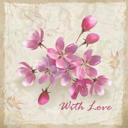 Realistische vector kersenbloesem bloemstuk lente design met een mooi boeket van roze bloemen, rafelige rand van sierlijke oude vel papier met schetsmatige bloemen en klassieke kalligrafische tekst op vintage grunge achtergrond achtergrond in retro stijl