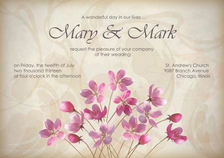 wording: Floral wedding greeting or invitation design with beautiful realistic spring bouquet of pink flowers, text, abstract decorative wallpaper pattern on grunge textured background in vintage retro style