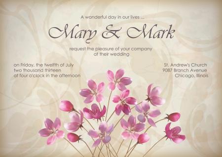 Saludo de la boda floral o dise�o de la invitaci�n con el ramo hermoso de primavera realista de flores de color rosa, texto, patr�n abstracto, papel pintado decorativo en fondo del grunge con textura en estilo retro vintage