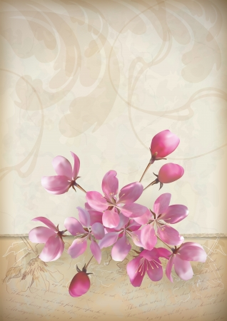 Realistic vector cherry blossom flower arrangement spring design with a beautiful bouquet of pink flowers, ragged edge of ornate Old paper sheet with sketchy flowers and classic calligraphic text on vintage grunge wallpaper background in retro style Illustration