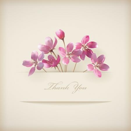 Floral Danke-Karte mit schönen realistischen Frühjahr rosa Blüten und Banner mit Schlagschatten auf einem beige eleganten Hintergrund in modernem Stil Perfekt für Hochzeit, Gruß-und Einladungskarten Design