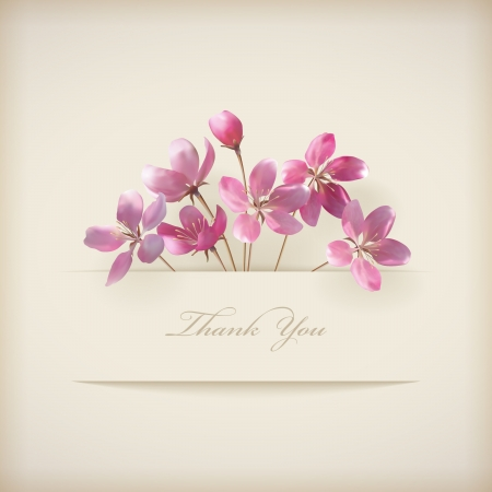 with thanks: Floral Thank you card with beautiful realistic spring pink flowers and banner with drop shadows on a beige elegant background in modern style  Perfect for wedding, greeting or invitation design  Illustration