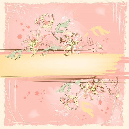 spattered: Floral artwork design. Hand drawn grunge sketch flowers and brush stroke on watercolor pink spattered scratched background. Scribble vector illustration with space for text based on pencil drawing
