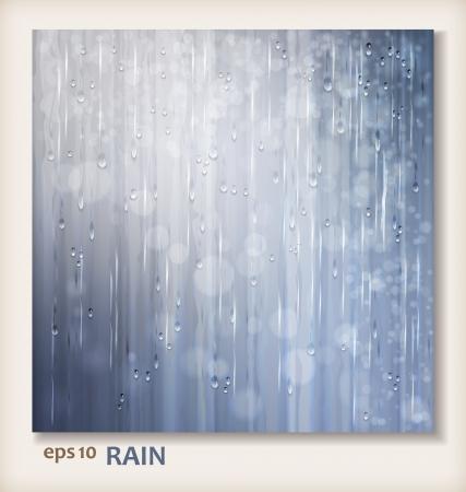 yağmurlu: Islak bir gün şeffaf damla, pencere su yağmur damlaları, dalgalanma doku ve bulanık ışıklar düşen Gri parlak yağmur suyu Soyut arka plan tasarım Yağmurlu hava vector gümüş background Çizim