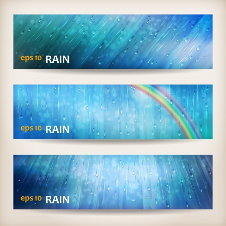 Blue rain banners  Abstract water background design  Rainy weather vector colorful bright background with falling in transparent drops, rainbow, ripple texture and blurred lights in wet day
