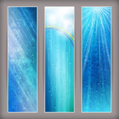 Blue rain banners  Abstract water background design  Rainy weather vector colorful bright background with falling in transparent drops, rainbow, clouds, ripple texture and blurred lights in wet day Illustration