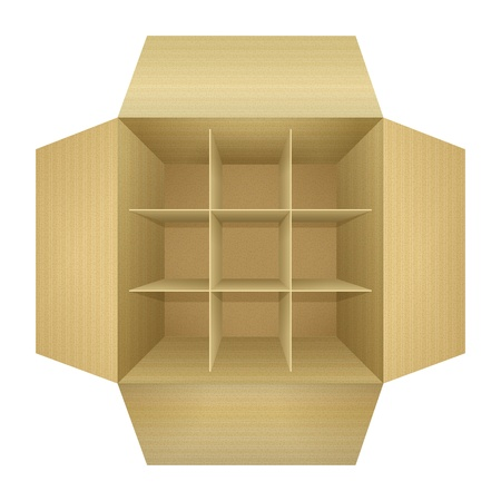 Open empty corrugated cardboard packaging box, with subtle textures, dividers,  flaps, shadows,  isolated on white background  Detailed realistic illustration