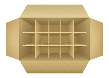 corrugated box: Open empty corrugated cardboard packaging box, with subtle textures, dividers,  flaps, shadows,  isolated on white background  Detailed realistic illustration