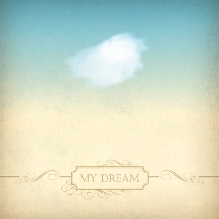 watercolor background: Vintage sky old paper background  Single white cloud, frame, decorations, calligraphic text
