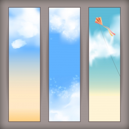 clear sky: Sky banners with white fluffy clouds, blur, flying kite and space for text at the backdrop in blue and beige pastel colors  Vertical background design Illustration