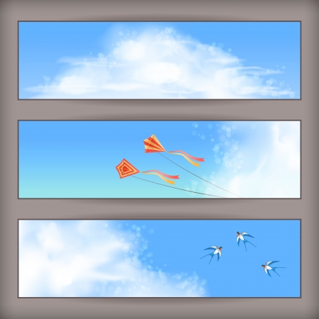 Sky banners with white fluffy clouds, blur, flying kites and birds  swallows  on a clear summer day  Horizontal vector background design with space for text at the backdrop in blue pastel colors Illustration