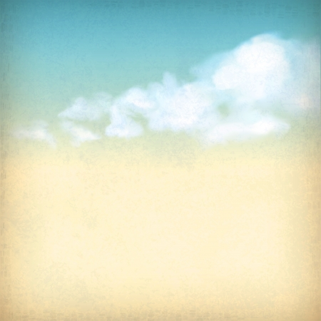 Vintage sky old paper retro style background with white clouds, subtle grunge texture of surface of the paper at the backdrop in blue   yellow colors like watercolor stretching on a clear summer day Stock Photo