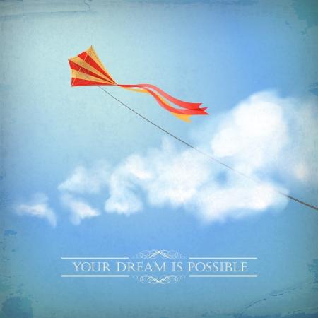 凧: ヴィンテージ古いペーパー バック グラウンド飛行カイト、ふわふわの白い雲、区切り線、テキスト、レトロなスタイルで明確な夏の日コンセプト夢デザイン上の青い色で背景に微妙なグランジ テクスチャ