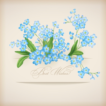 forget me not: Blue spring flowers forget-me-not greeting card  Floral postcard with banner, shadows and text Best Wishes  on a beige background in retro style  Perfect for wedding, greeting or invitation design