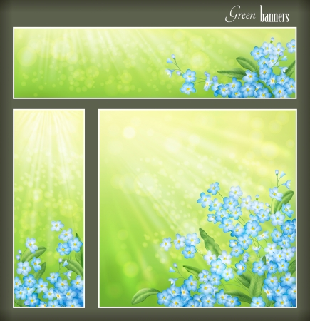 Green spring or summer banners set with blue flowers and blurred sun rays  Collection of square, horizontal and vertical floral banners with forget-me-not flowers, leaves, sunshine light effects