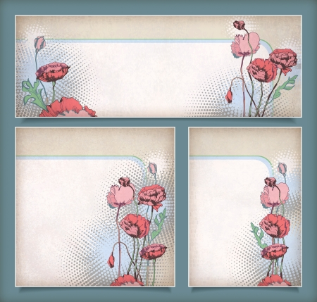 Vintage flower banners in different layout  Set of floral banners or postcards with pink, red drawing poppies and halftone elements on a background Stock Vector - 18442948