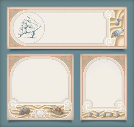 Conjunto de banderas mar�timas vintage frame vacaciones o etiquetas. Colecci�n retro fondos marinos de estilo Art Deco con un barco de vela, conchas en la arena, nudo de la cuerda, frontera decorativa en diferentes dise�os