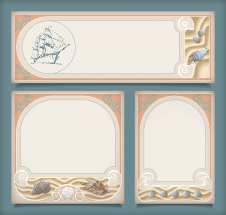 Set of sea vintage vacation frame banners or labels. Marine collection of retro art deco style backgrounds with a sailing ship, shells on the sand, rope knot, decorative border in different layouts
