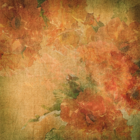 Vintage grunge background with flowers  roses   Floral pattern on the retro fabric Stock Photo - 18855663