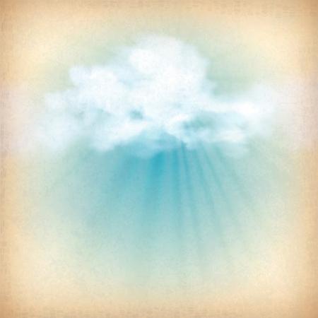 amanecer: Los rayos de la luz del sol se rompe a trav�s del cielo Vintage viejo fondo de vector de papel nubes con nubes blancas, textura grunge sutil, rayos del sol en el tel�n de fondo en colores azul y amarillo en el estilo retro Vectores