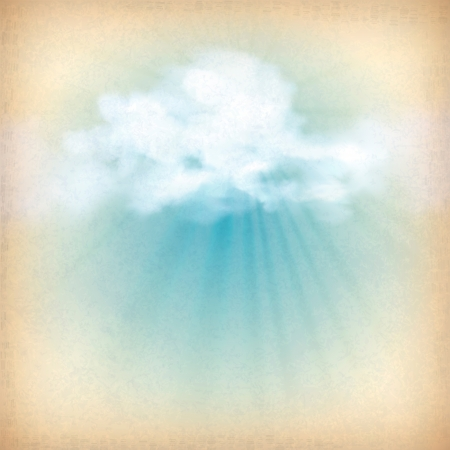 summer break: Rays of sunlight breaking through the clouds  Vintage sky old paper vector background with white clouds, subtle grunge texture, sun rays at the backdrop in blue and yellow colors in retro style