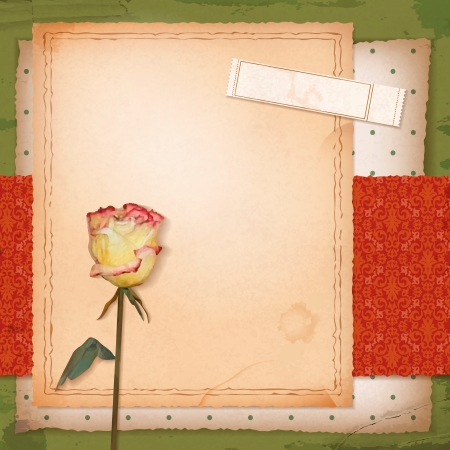 love story: Scrapbook retro design with grunge paper background, dried flower (rose), vintage wallpaper pattern, sketch frame, old ticket with text Love Story Illustration
