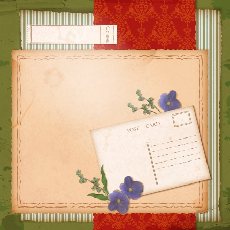 Scrapbook retro design with grunge paper background, dried flowers (violets), grass blades, vintage wallpaper pattern, sketch frame, label, old post card Vector