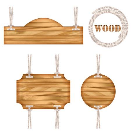 Wood vector frame rope design. Set of vintage information old wooden texture sign boards hanging with rope Çizim