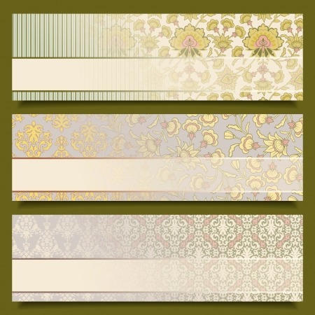 set of vintage abstract flower banners  Floral wallpaper retro backgrounds with seamless ornament, transparent frames  Old style pattern design  Collection of decorative labels with text box Stock Vector - 19098260