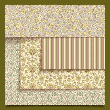 Conjunto de tela retro sin fisuras o patrones de impresi�n de papel. Colecci�n abstracta vintage con ornamentos decorativos florales en estilo provenzal para el dise�o de papel tapiz de fondo. Vectores