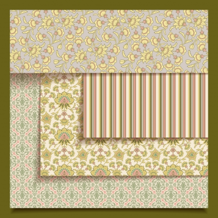 Set of seamless retro fabric or paper print patterns. Vintage abstract collection with floral decorative ornaments in provence style for wallpaper background design.