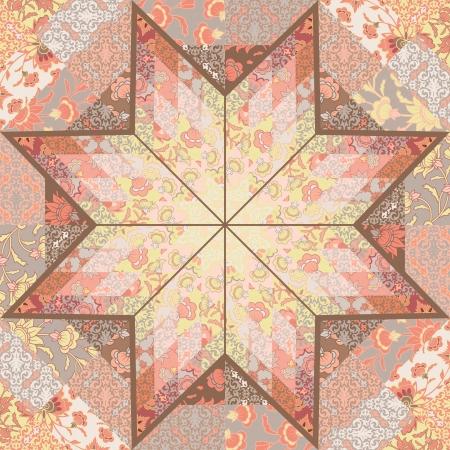Quilt seamless pattern craft handmade background design with star shape. Çizim