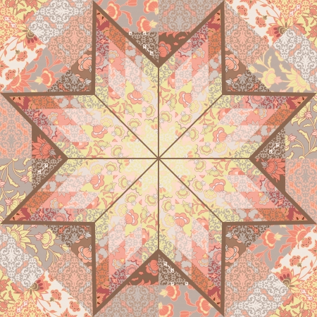 Quilt seamless pattern craft handmade background design with star shape. Vector