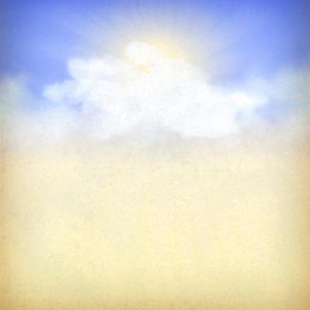 Rayos de sol entre las nubes. Antiguo fondo de papel vintage cielo con nubes blancas, textura grunge sutil, rayos del sol en el telón de fondo en colores azul y amarillo en el estilo retro