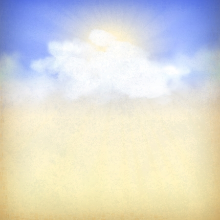 Rays of sunlight breaking through the clouds. Vintage sky old paper background with white clouds, subtle grunge texture, sun rays at the backdrop in blue and yellow colors in retro style Illustration