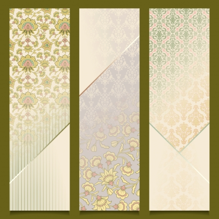 set of vintage abstract flower banners. Floral wallpaper retro backgrounds with seamless ornament, transparent frames. Old style pattern design. Collection of decorative labels