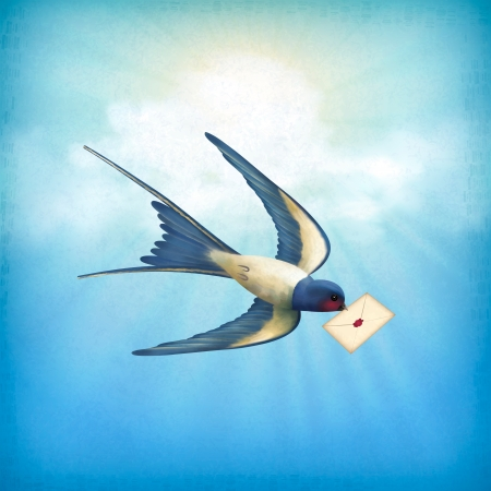 Free flying bird  swallow  with letter mail on a blue sky nature background with white clouds, subtle grunge texture, sun rays Çizim