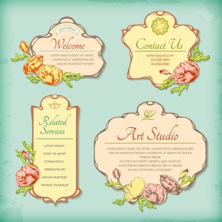 Conjunto de etiquetas antiguos vintage decorativos con flores. Frontera de dise�o floral retro en estilo art d�co. Colecci�n de cuadros decorativos rom�nticos con flores dibujadas a mano Vectores