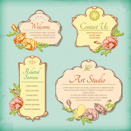 Set of vintage decorative antique labels with flowers. Border retro floral design in art Deco style. Collection of romantic decorative frames with hand drawn flowers