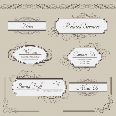 Set of vintage labels, frames, borders. Retro elements collection: luxury menu headlines, panels, banners, text boxes and ornate page decor elements for calligraphy design Stock Vector - 19445898