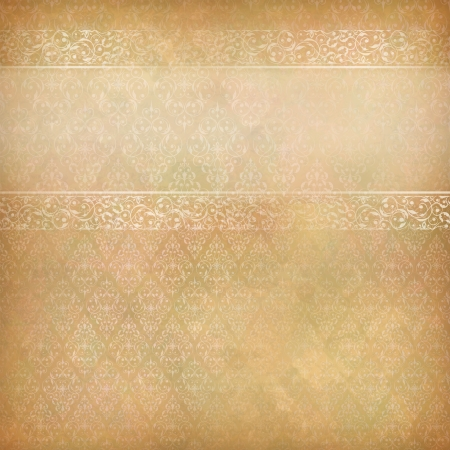 Vintage abstract background with lace banner, seamless antique wallpaper pattern, subtle grunge paper texture  Border retro design in old style Can be used as wedding, greeting, invitation card Stock Vector - 19751985