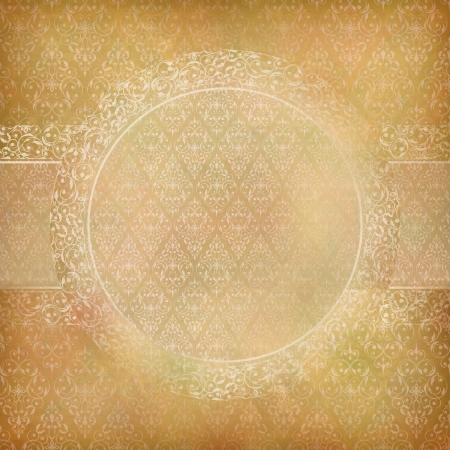 vintage abstract background with lace banner, seamless antique wallpaper pattern, subtle grunge paper texture  Border retro design in old style Can be used as wedding, greeting, invitation card Stock Vector - 19751991