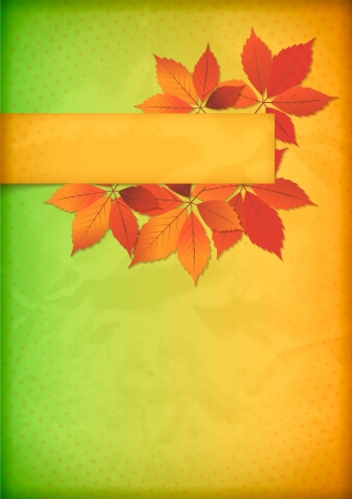 Autumn background.  texture of colorful crumpled old paper with a frame from maple leaves, halftone pattern and banner. Back to school concept design Vector
