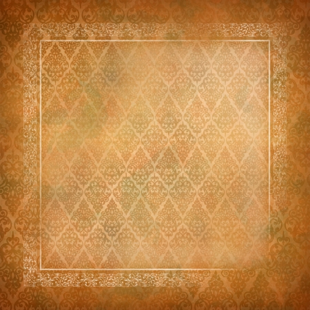 Vintage abstract retro colorful background background with lace banner, seamless antique wallpaper pattern, subtle grunge paper texture Border frame design in old style Stock Vector - 19751998